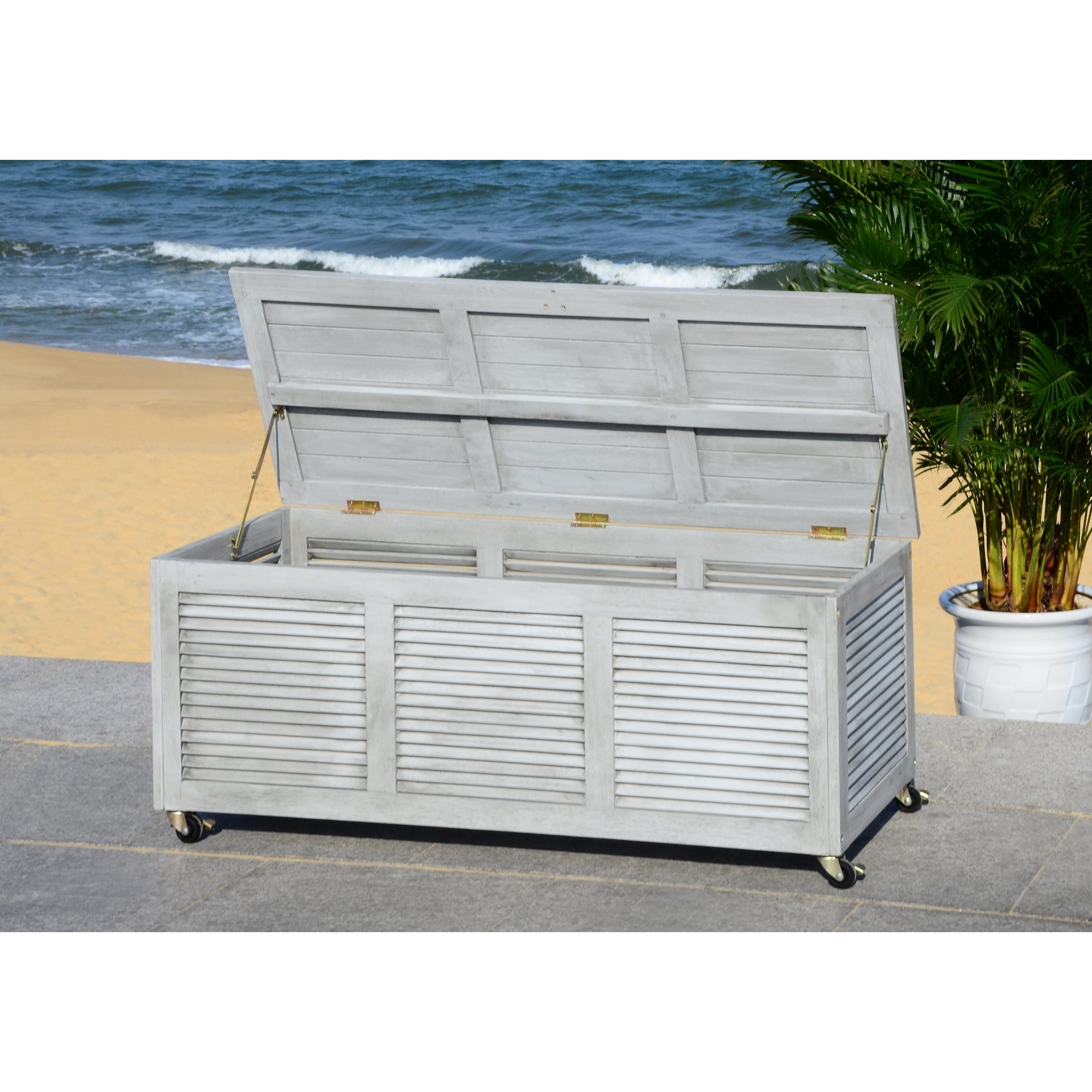 Fabulous Safavieh Outdoor Elina 47 2 Inch Grey Wash Cushion Storage Box Inzonedesignstudio Interior Chair Design Inzonedesignstudiocom