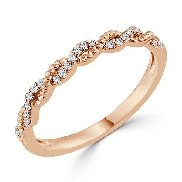 Auriya Stackable Twisted Rope 0.08ctw Diamond Wedding Band 10K Gold