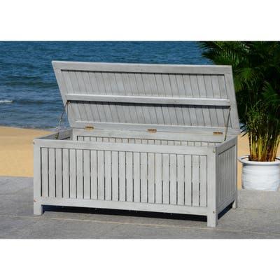 """Safavieh Outdoor Abri 47.63-Inch Grey Wash Cushion Storage Box - 47.6""""x19.6""""x18.9"""""""