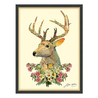 Empire Art 'Mrs. Deer' Hand Made Signed Art Collage by EAD Artists Co-op under Tempered Glass in Black Frame