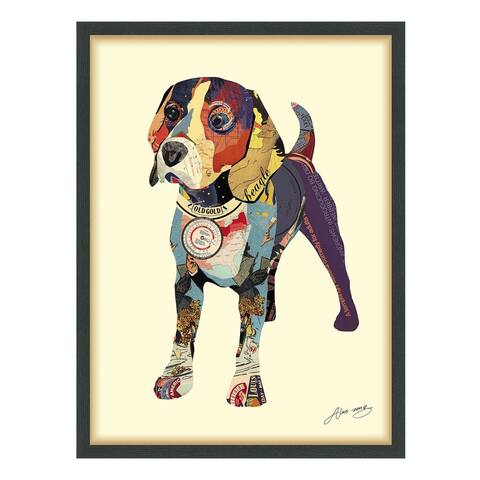 Empire Art 'Beagle' Hand Made Signed Art Collage by EAD Artists Co-op under Tempered Glass in Black Frame