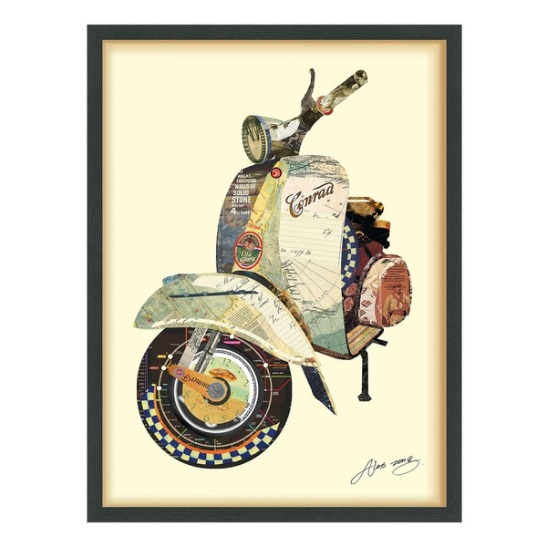 Empire Art 'Scooter' Hand Made Signed Art Collage by EAD Artists Co-op  under Tempered Glass in Black Frame