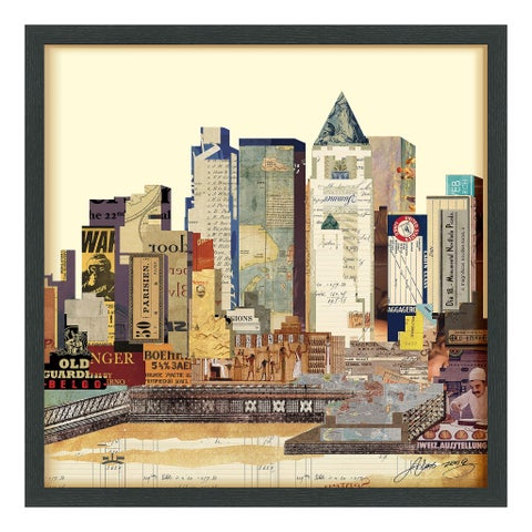 Empire Art 'New York City Skyline' Hand Made Signed Art Collage by EAD Artists Co-op under Tempered Glass in Black Frame