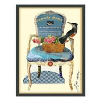 Empire Art 'Antique Chair' Hand Made Signed Art Collage by EAD Artists Co-op under Tempered Glass in Black Frame
