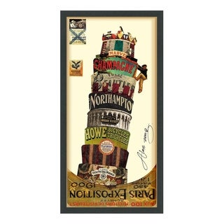 Empire Art 'Leaning Tower of Pisa' Hand Made Signed Art Collage by EAD Artists Co-op under Tempered Glass in Black Frame