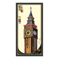 Empire Art 'Big Ben' Hand Made Signed Art Collage by EAD Artists Co-op under Tempered Glass in Black Frame