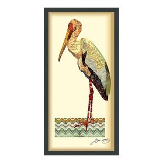 Empire Art 'Crane' Hand Made Signed Art Collage by EAD Artists Co-op under Tempered Glass in Black Frame