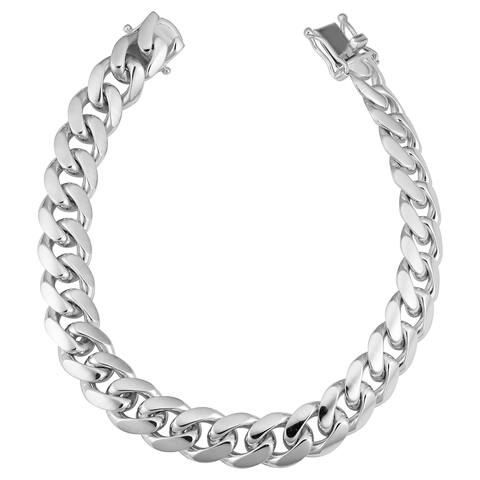 Fremada Rhodium Plated Sterling Silver Miami Cuban Bracelet (8.5 inches)