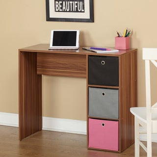 Simple Living Jolie Student Writing Desk with Three Fabric Bins