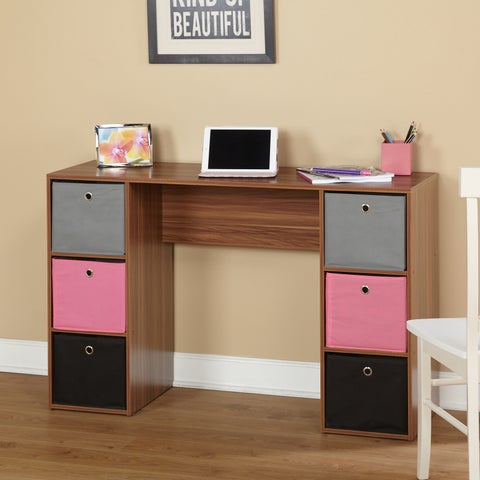 Simple Living Jolie Student Writing Desk with Six Fabric Bins