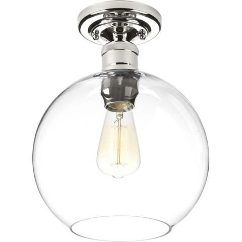 Hansford Collection 1-Light Polished Nickel Flushmount - N/A