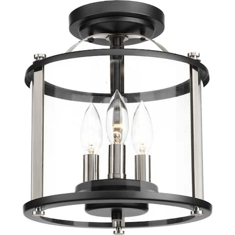 Squire Collection 3-Light Black Flushmount