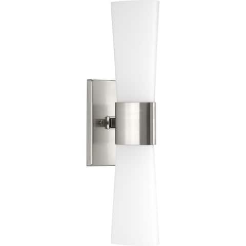 Zura Collection 2-Light Brushed Nickel Etched Opal Glass Modern Bath Vanity Light