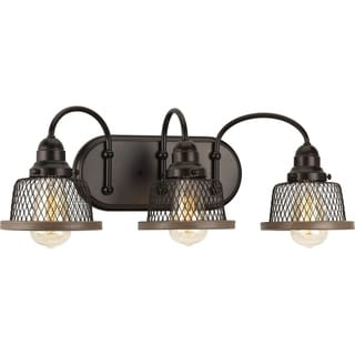 Tilley Collection Antique Bronze Steel 3-light Bath Light