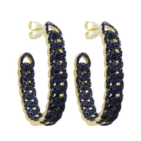 Luxiro Gold Finish Sterling Silver Lab-created Blue Spinel Gemstone Hoop Earring