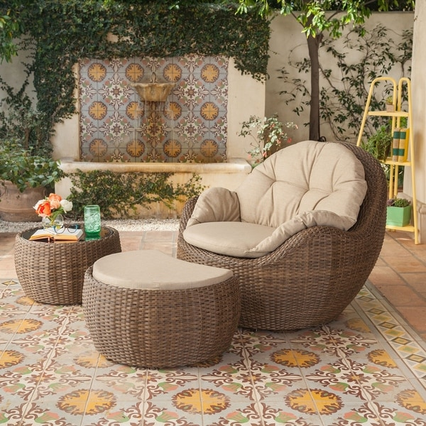 Greta Outdoor 3 Piece Wicker Furniture Set With Cushioned Lounge Chair Ottoman And Cushions