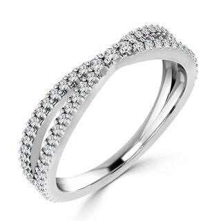 Auriya 10K Gold Stackable 1/3ct TDW Diamond Cross Over Ring
