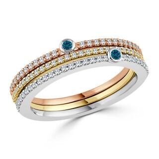 Auriya 10k Tri-Color Gold 3/8ct TDW Stackable Blue Diamond Wedding band
