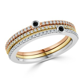Auriya 10k Tri-Color Gold 3/8ct TDW Stackable Black and White Diamond Wedding band