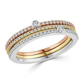 Auriya 10k Tri-Color Gold 3/8ct TDW Round Diamond Wedding band