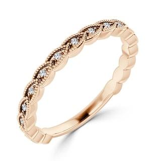 Auriya 10k Gold 0 08ctw Ultra Thin Stackable Diamond Wedding Band