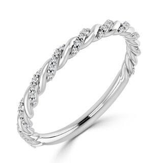 Auriya 10K Gold 1/8ct TDW Pave Diamond Wedding Band