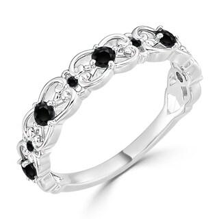 Auriya 10K Gold 1/3ct TDW Vintage Scroll Black Diamond Wedding Band