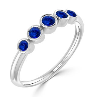 Auriya 10K Gold 1/4ct TDW 5-Stone Blue Sapphire Bezel Wedding Anniversary Band