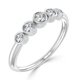 Auriya 10K Gold 1/4ct TDW 5 Stone Diamond Bezel Wedding Anniversary Band