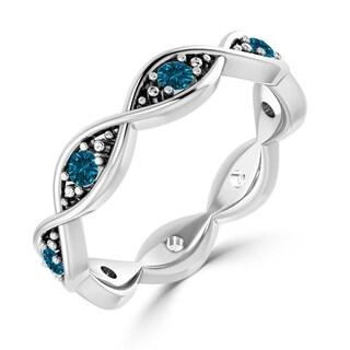 Auriya 10K Gold 1/6ct TDW Prong  Blue Diamond Infinity-Inspired Wedding Band