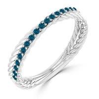 Auriya 10K Gold 1/5ct TDW Blue Twisted Rope Diamond Wedding Band