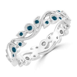 Auriya 10k Gold 1 4ctw Stackable Vintage Floral Vine Blue Diamond Wedding Band