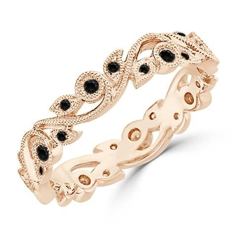Auriya 10k Gold 1/4ctw Stackable Vintage Floral Vine Black Diamond Wedding Band