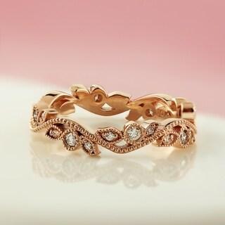 Auriya 10k Gold 1/4ctw Stackable Vintage Floral Vine Diamond Wedding Band