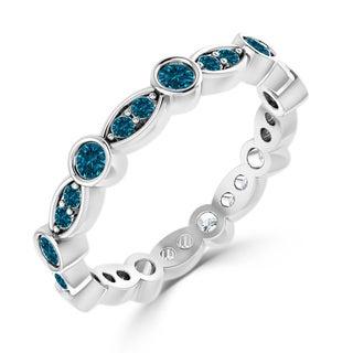 Auriya 10K Gold 1/2ct TDW  Blue Diamond Eternity Wedding Band