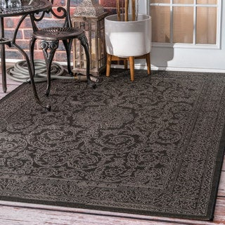 nuLOOM Made by Thomas Paul Indoor/Outdoor Traditional Floral Medallion Black Rug (6'3 x 9'2)