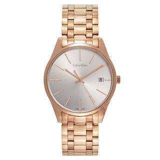 Calvin Klein Women's Time Stainless Steel Rose Gold PVD Coated Silver Swiss Quartz (Battery-Powered) Watch