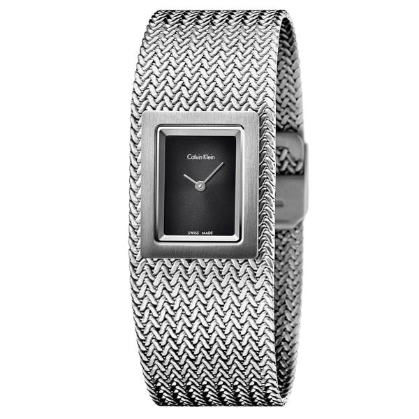 Calvin Klein Women's Mesh Stainless Steel Black Swiss Quartz (Battery-Powered) Watch