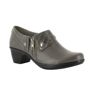 Easy Street Women's Darcy Side Zip Shootie (Grey/Grey Croco)