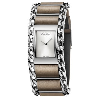 Calvin Klein Women's Impeccable Leather Silver Swiss Quartz (Battery-Powered) Watch