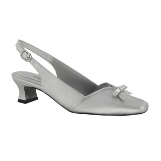 Easy Street Women's Incredible Slingback With Bow (Silver Satin/Metallic With Easy Flex Dance Sole)