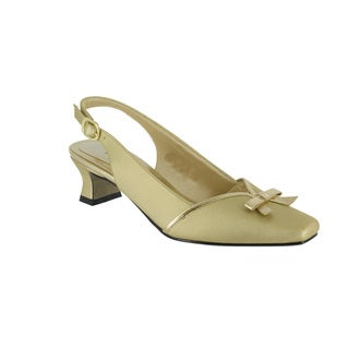 Easy Street Women's Incredible Slingback With Bow (Gold Satin/Metallic With Easy Flex Dance Sole)