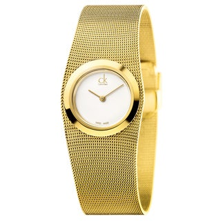 Calvin Klein Women's Impulsive Stainless Steel Yellow Gold PVD Coated Silver Swiss Quartz (Battery-Powered) Watch