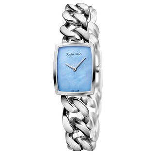 Calvin Klein Women's Amaze Stainless Steel Blue Mother-of-Pearl Swiss Quartz (Battery-Powered) Watch
