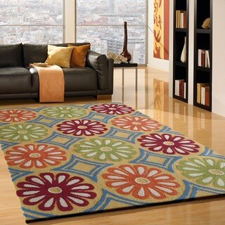 Green/Red/White Modern Hand-tufted Area Rug (6'6 x 9'2 )