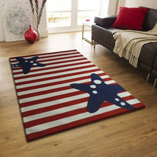 Red/White/Blue Hand-tufted Area Rug (6'6 x 9'2)