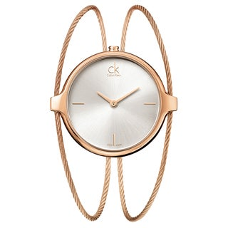 Calvin Klein Women's Agile Stainless Steel Rose Gold PVD Coated Silver Swiss Quartz (Battery-Powered) Watch