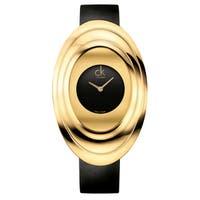 Calvin Klein Women's Mound Leather Black Swiss Quartz (Battery-Powered) Watch