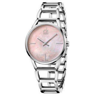 Calvin Klein Women's Stately Stainless Steel Pink Mother-of-Pearl Swiss Quartz (Battery-Powered) Watch