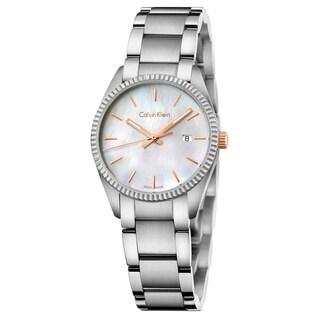 Calvin Klein Women's Alliance Stainless Steel White Mother-of-Pearl Swiss Quartz (Battery-Powered) Watch